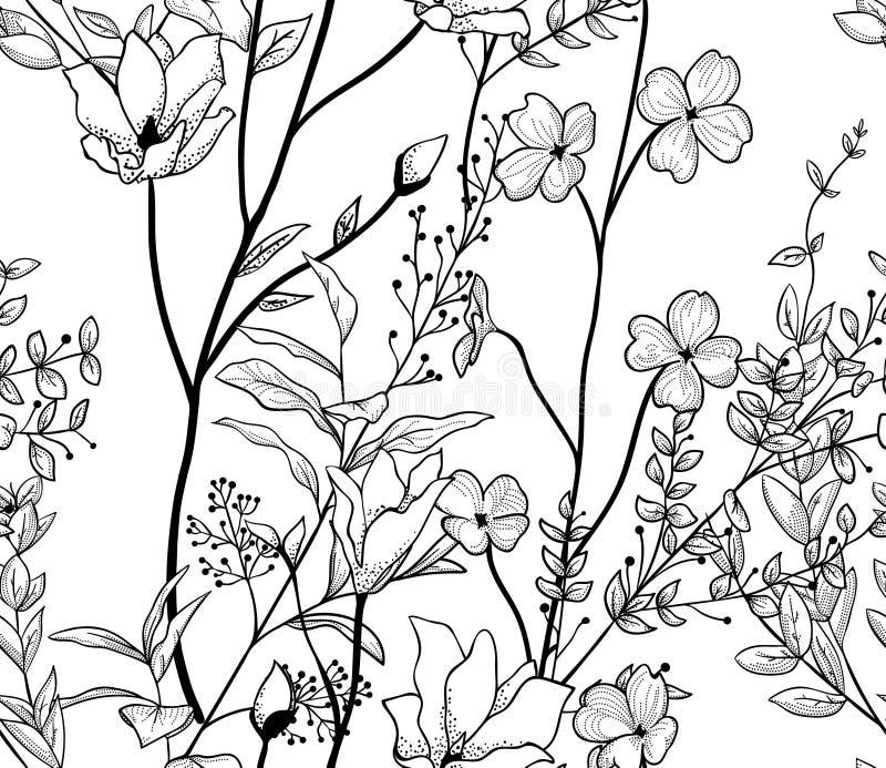 Svart sömlös modell för vektor med utdragna blommor, filialer, växter vektor illustrationer