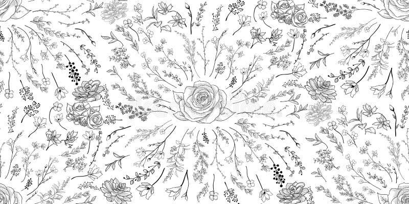 Svart sömlös modell för vektor med utdragna blommor, filialer, växter royaltyfri illustrationer