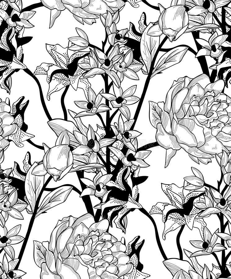 Svart sömlös modell för vektor med utdragna blommor, pion royaltyfri illustrationer