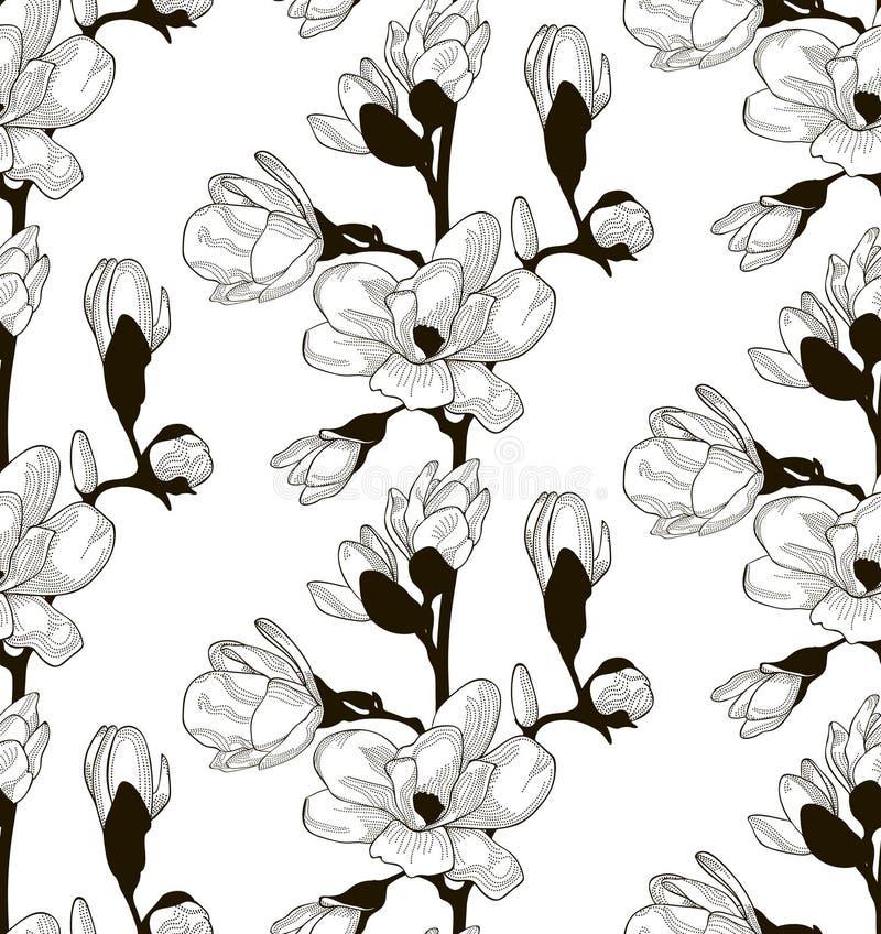 Svart sömlös modell för vektor med utdragna Cherry Flowers royaltyfri illustrationer