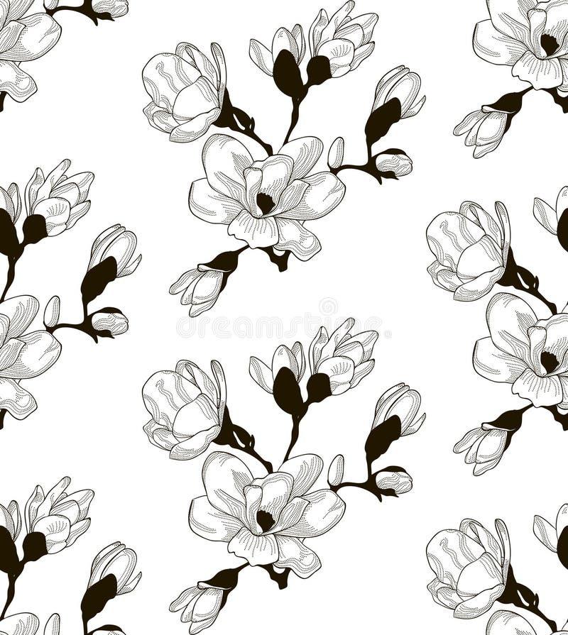 Svart sömlös modell för vektor med utdragna Cherry Flowers vektor illustrationer