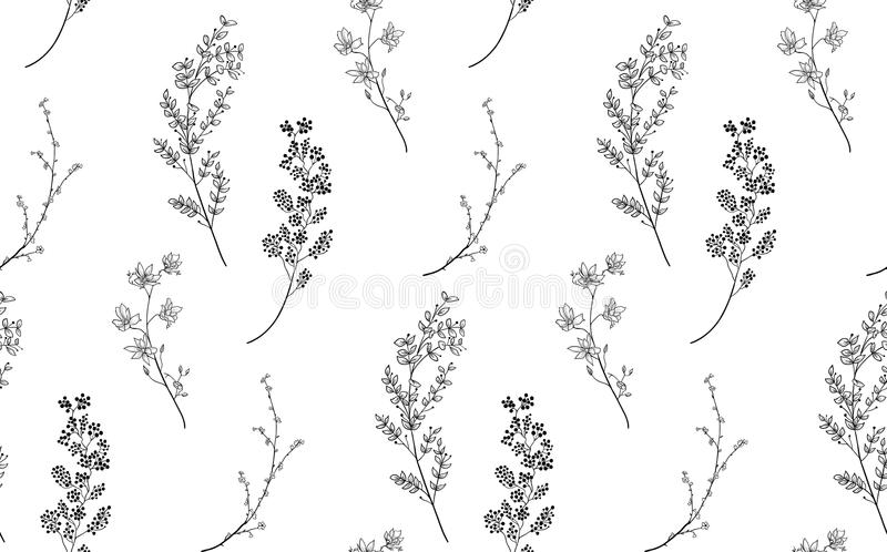 Svart sömlös modell för vektor med utdragna filialer, växter royaltyfri illustrationer
