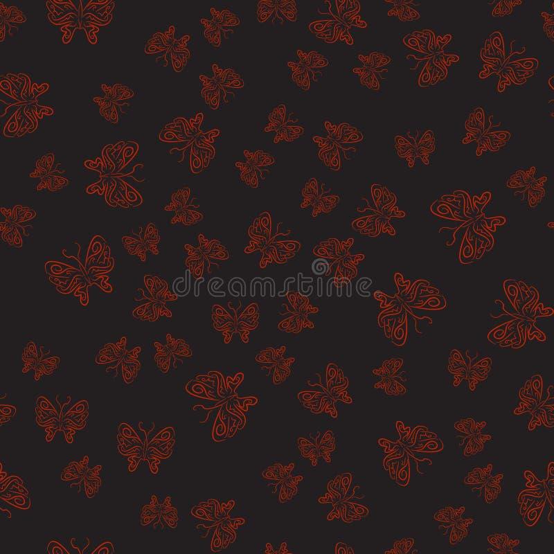 Svart sömlös modell med röda fjärilar i hand-dragen stil royaltyfri illustrationer