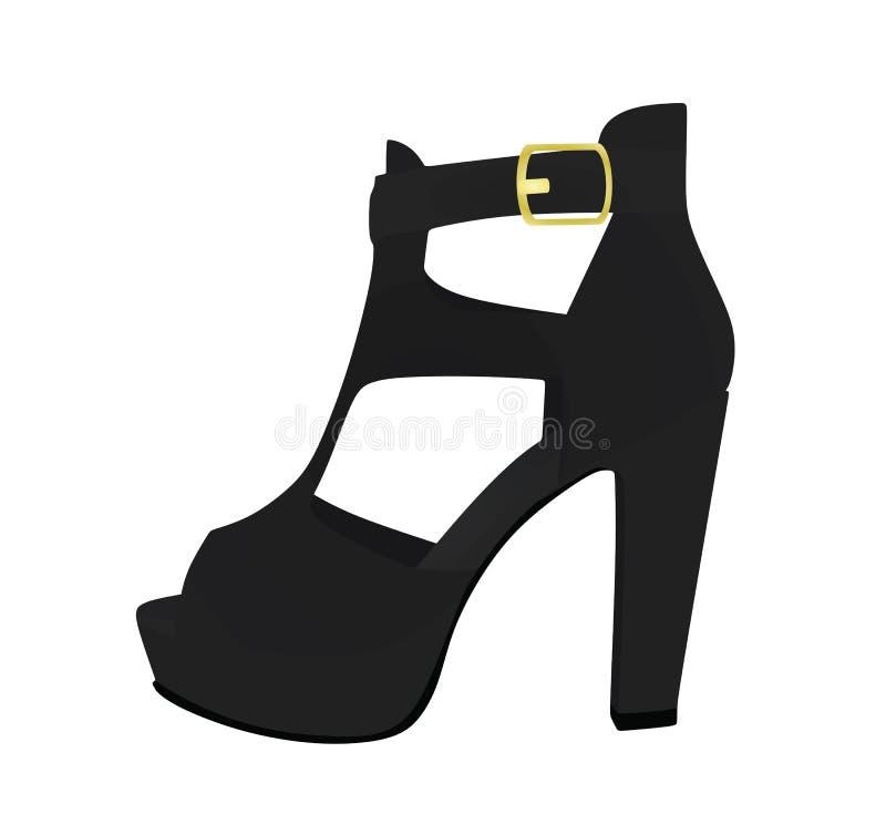 svart sandal Slapp fokus vektor illustrationer