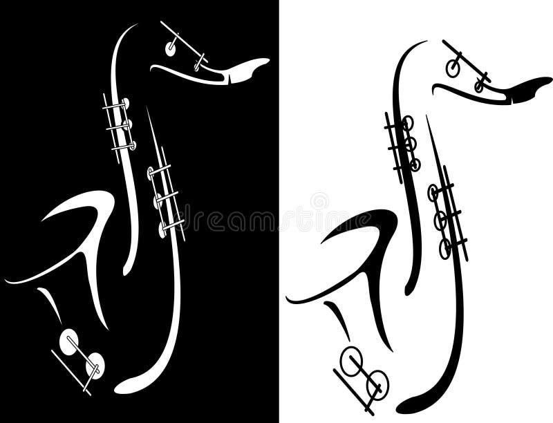 svart saxofonwhite vektor illustrationer