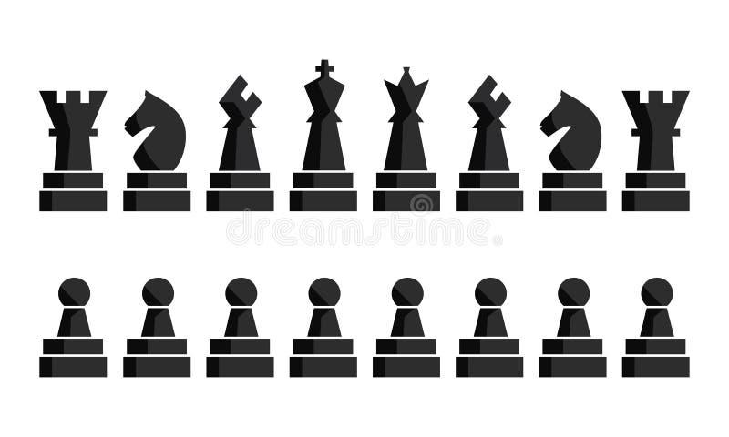 Svart schacksymbolsuppsättning Diagram för schackbräde Stycken för vektorillustrationschack Nio olika objekt inklusive konung royaltyfri illustrationer