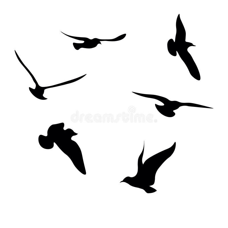 Svart Seagullskontursamling stock illustrationer