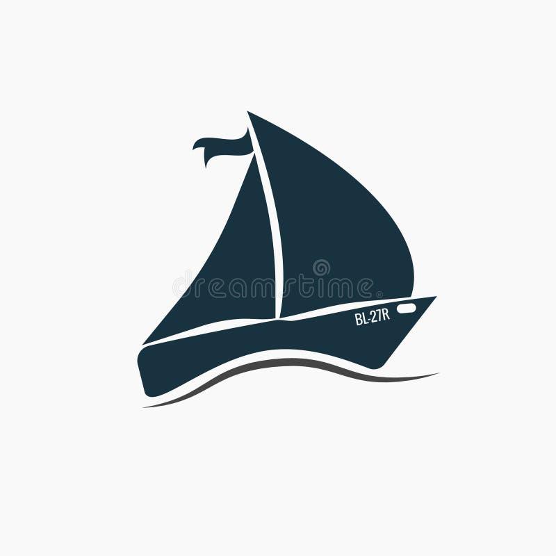 Svart segelbåt, skeppsymbol på vågor, hav royaltyfri illustrationer