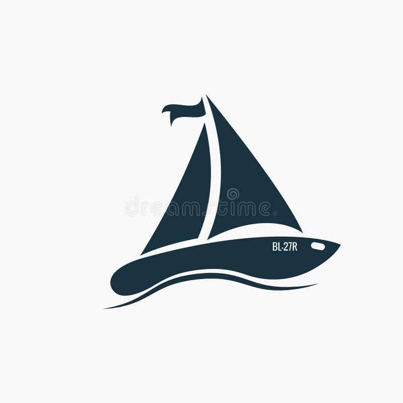 Svart segelbåt, skeppsymbol på vågor, hav stock illustrationer