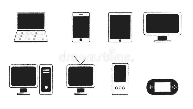 Svart serie elektronik vektor illustrationer