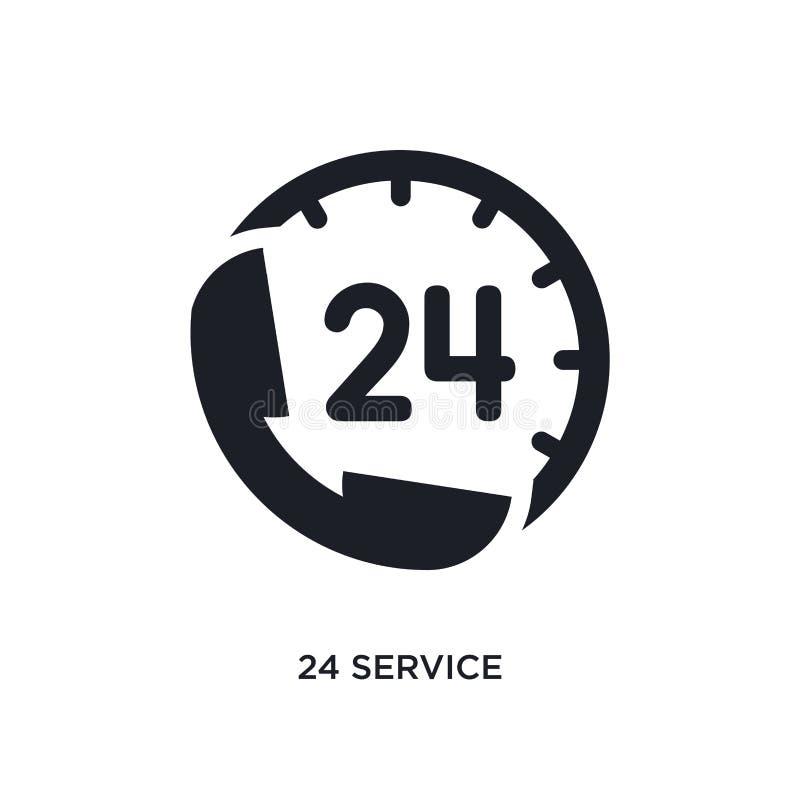 svart 24 service isolerad vektorsymbol enkel beståndsdelillustration från symboler för hotellbegreppsvektor 24 redigerbara logo f vektor illustrationer