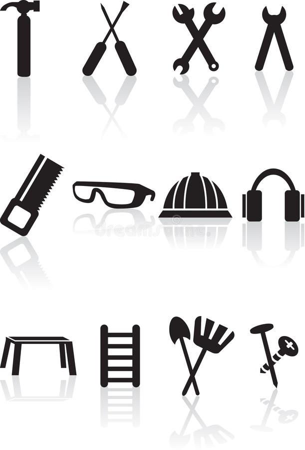 svart set för maskinvarusymbolsserie stock illustrationer
