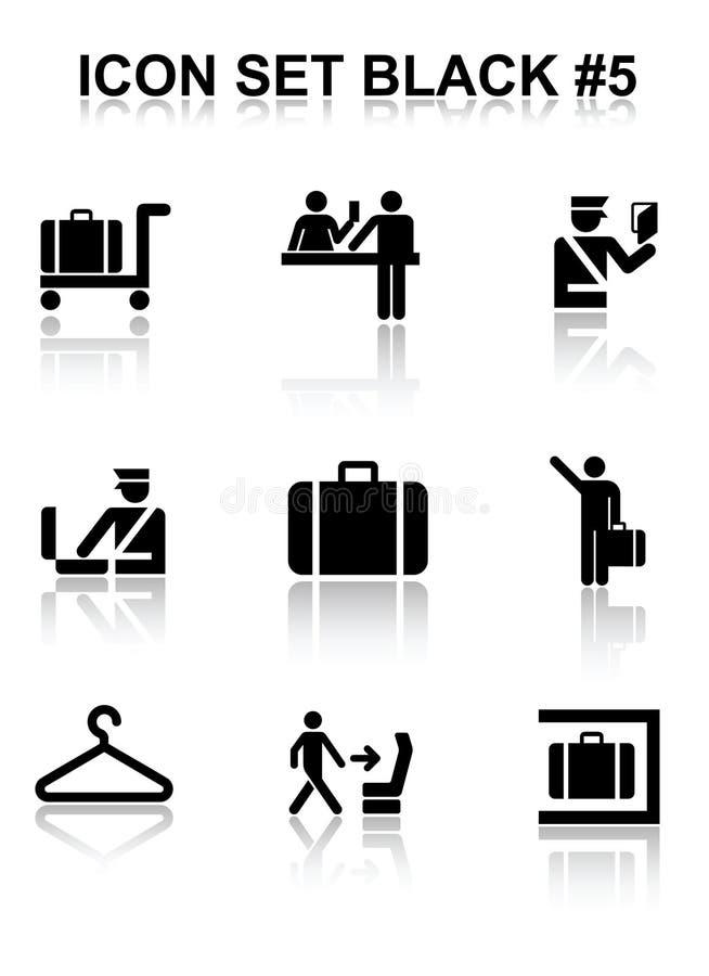 svart set för symbol 5 stock illustrationer