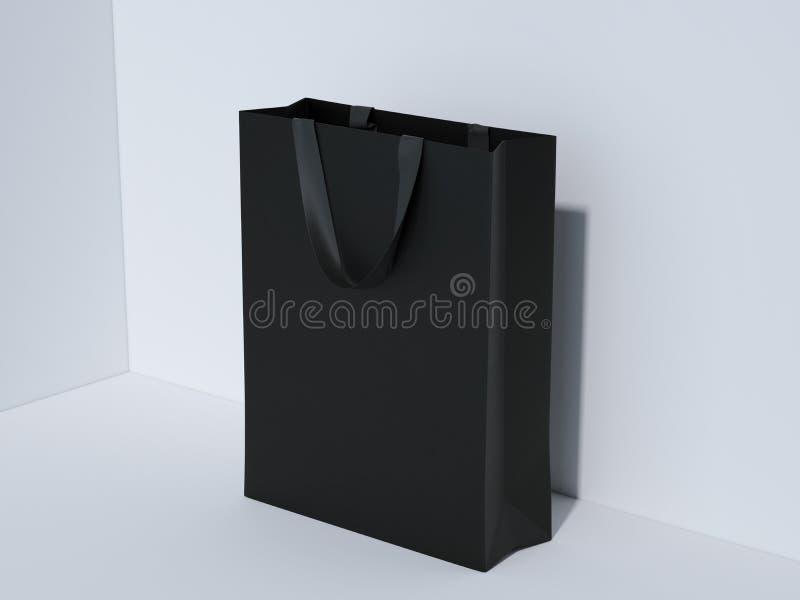 Svart shoppingpåse i studio framförande 3d vektor illustrationer