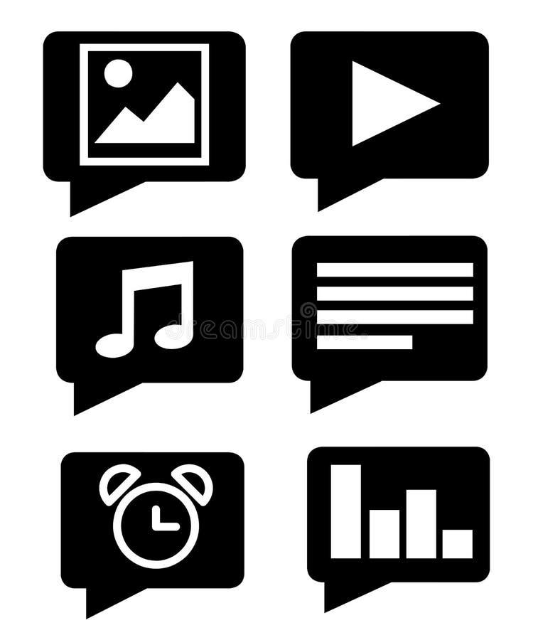 svart silhouette Plan mobil appsymbolsuppsättning Vektorillustration som isoleras på vit bakgrund stock illustrationer