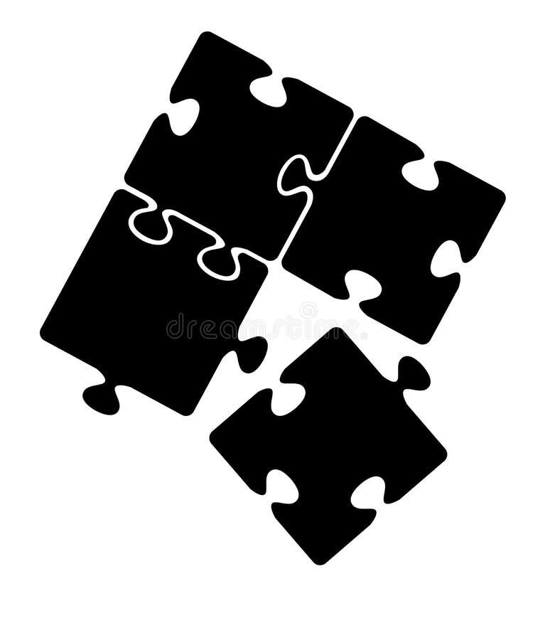 svart silhouette Svart pusselsymbol Ett pussel separat Plan vektorillustration som isoleras på vit bakgrund vektor illustrationer