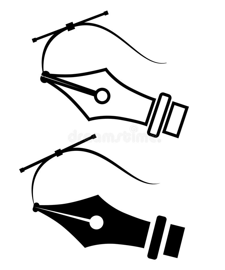 svart silhouette Symbol för reservoarpennastiftsymbol Plan vektorillustration som isoleras på vit bakgrund vektor illustrationer
