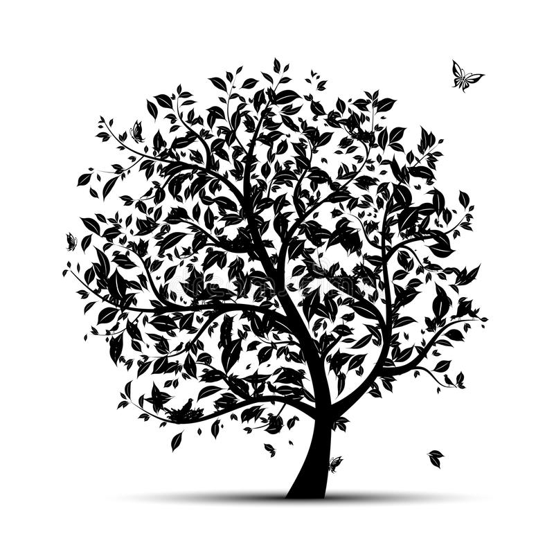 svart silhouettetree för konst royaltyfri illustrationer