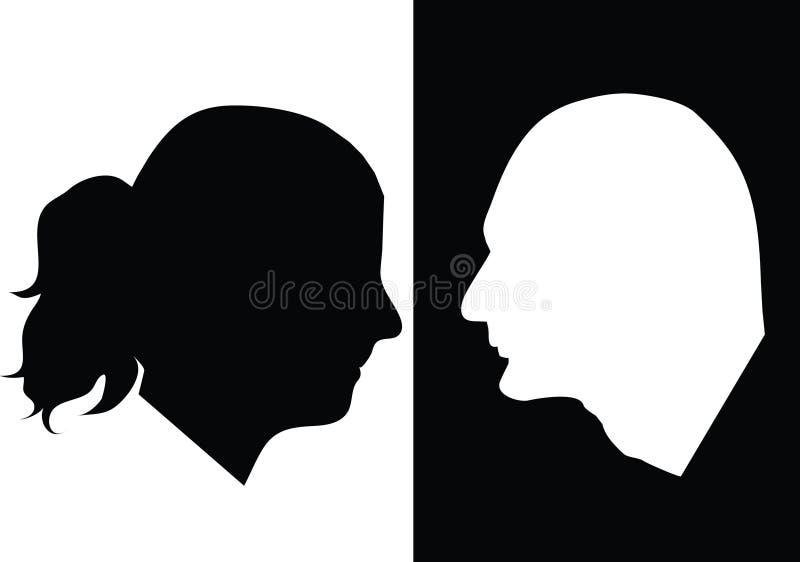 svart silhouettewhite vektor illustrationer