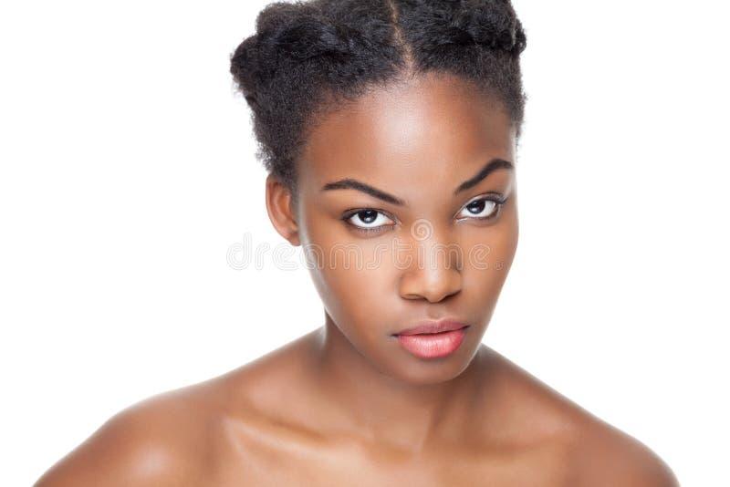 Svart skönhet med perfekt hud arkivfoto