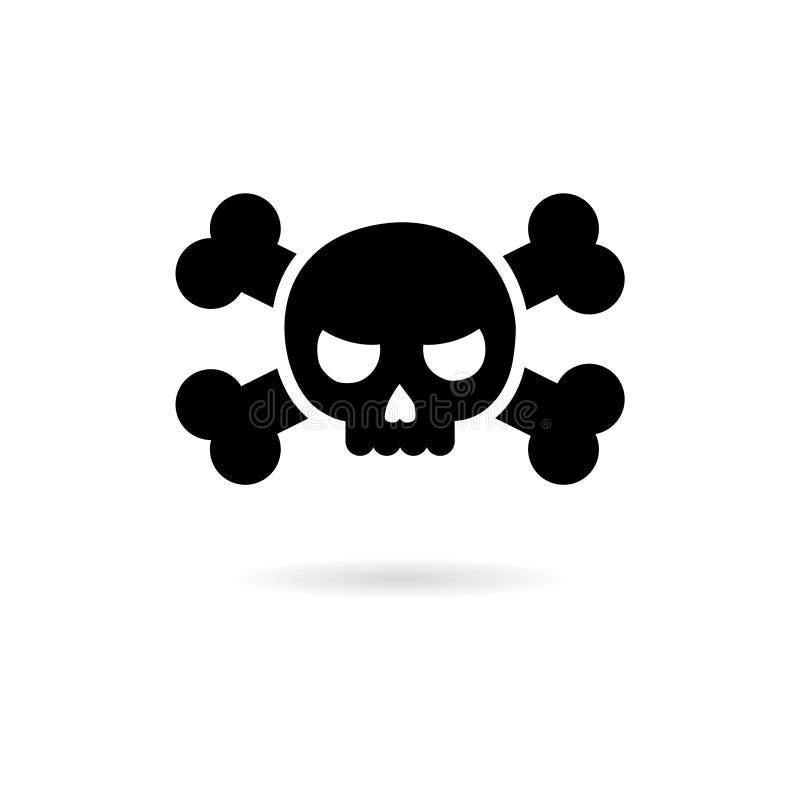 Svart skalle och bensymbol eller logo stock illustrationer
