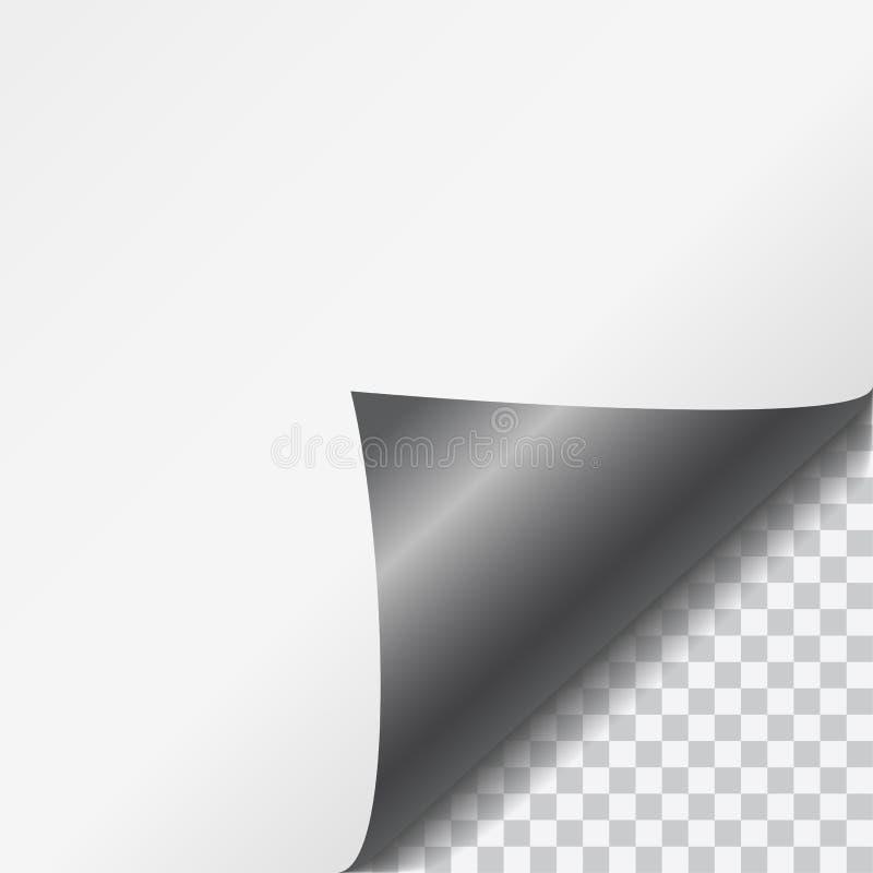 Svart skinande krullat pappers- hörn för vektor med genomskinligt bakgrund och utrymme stock illustrationer