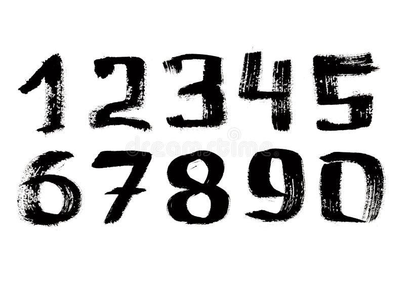svart skrivet siffrahandfärgpulver stock illustrationer