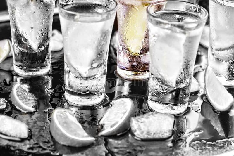 svart slutwhite Noir Alkohol coctail Vodka gin, tequila med limefrukt deltagare royaltyfria bilder