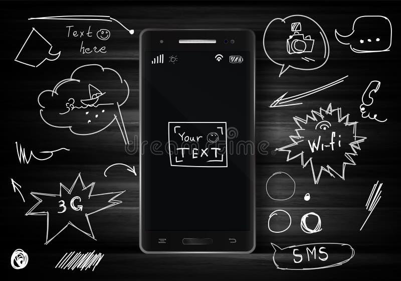 Svart smartphone på mörk wood textur Mobiltelefon på skrivbordtext vektor illustrationer