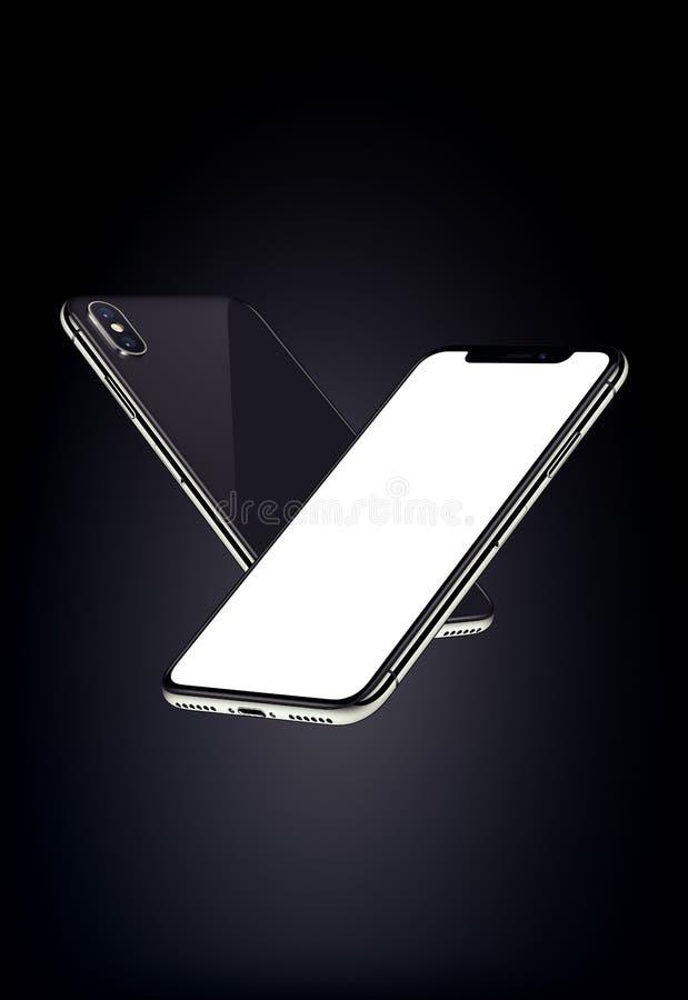 Svart smartphonesmodell som skjuta i höjden i luften på mörk bakgrund royaltyfri illustrationer