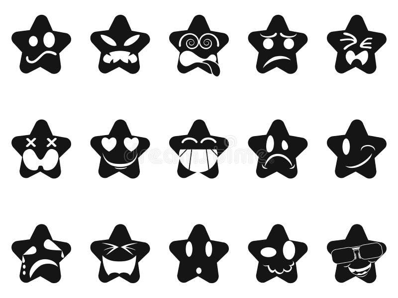 Svart smileysstjärnauppsättning royaltyfri illustrationer