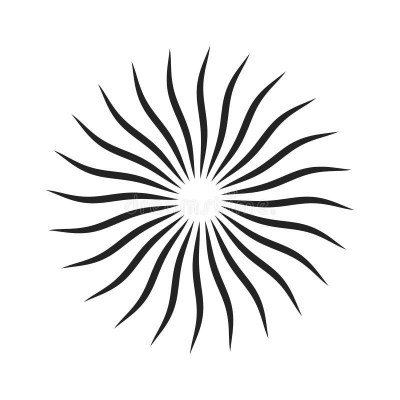 Svart snurrade strålar vektor illustrationer