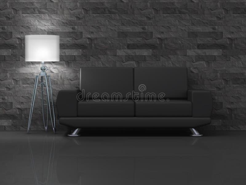svart sofa royaltyfri illustrationer