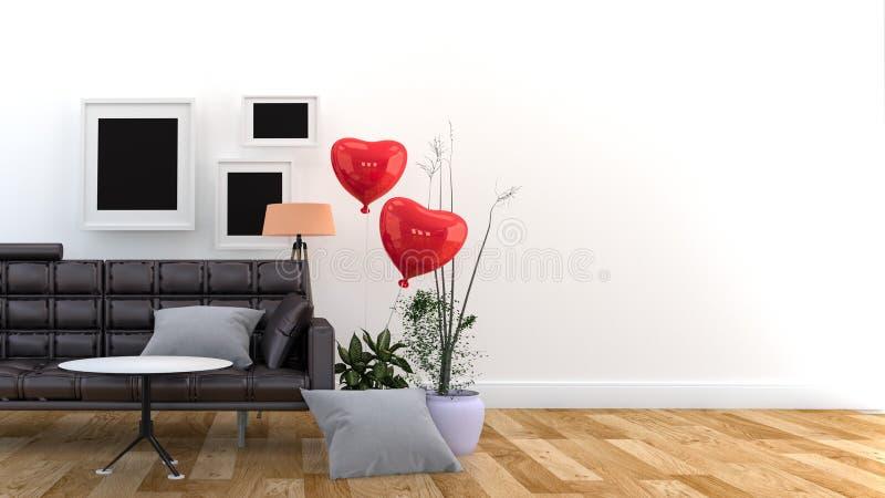 Svart soffa och kuddar framf?rande 3d stock illustrationer