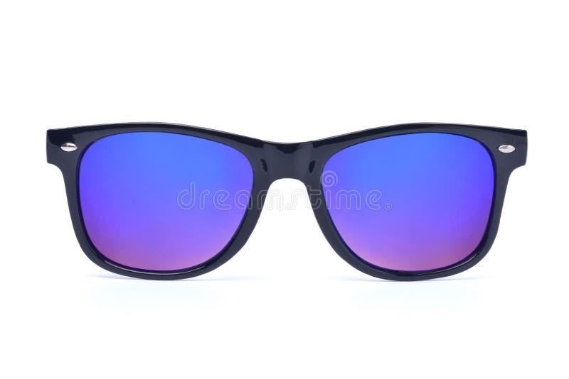 Svart solglasögon med den flerfärgade spegeln Lens fotografering för bildbyråer