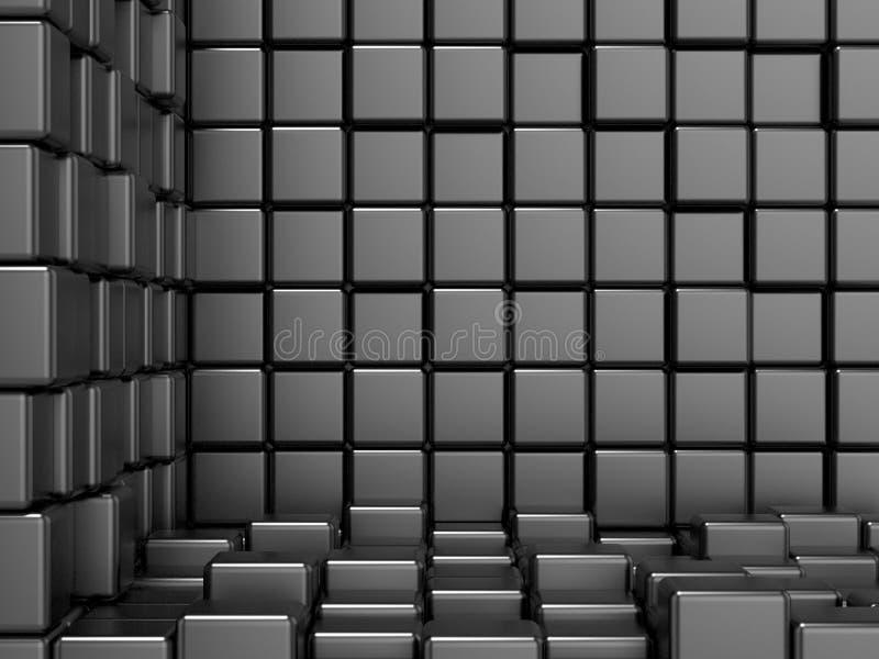 Svart som är kubik, hörnutrymme Modern bakgrund för raster vektor illustrationer