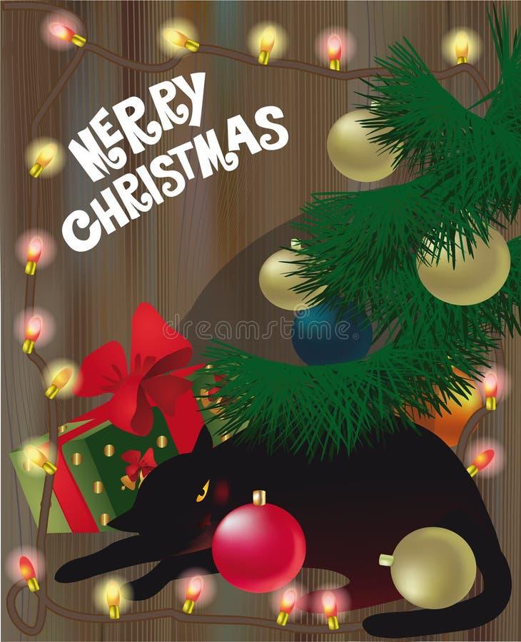 Svart sova katt under julgranen stock illustrationer