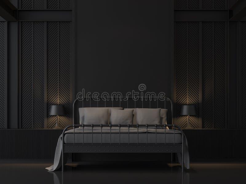 Svart sovrum med industriell vindstil 3d att framföra stock illustrationer