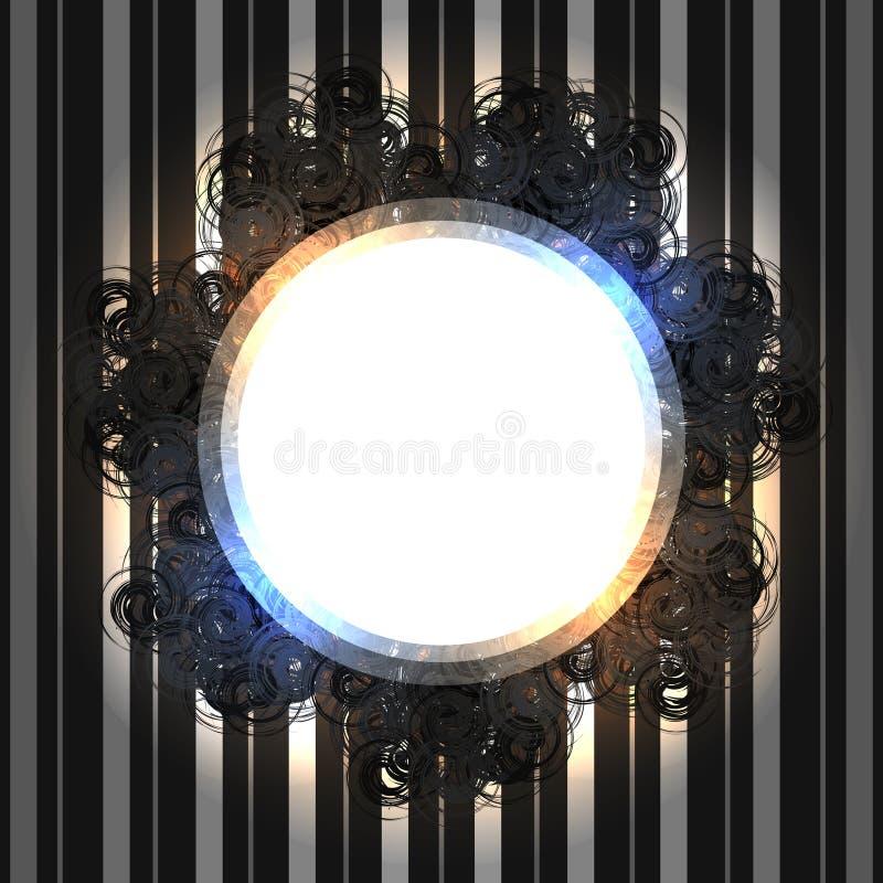 Svart spets- tappningram med glänsande ljus på randig silverbakgrund stock illustrationer