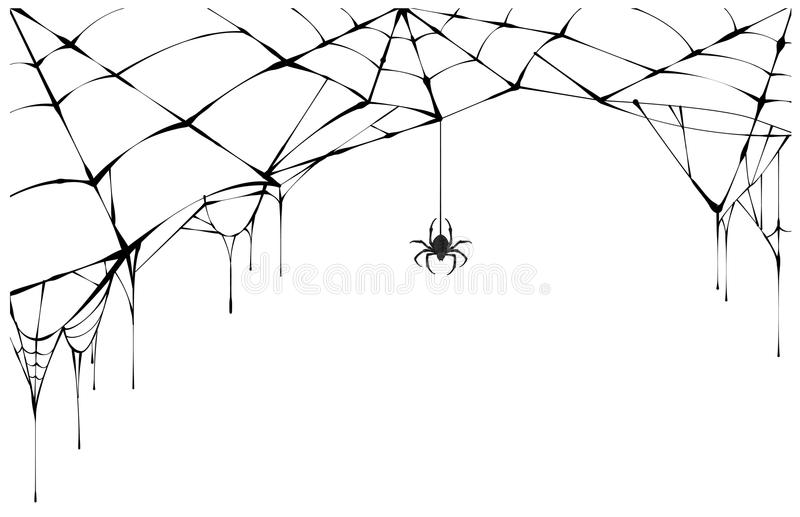 Svart spindel och sönderriven rengöringsduk Läskig spiderweb av det halloween symbolet stock illustrationer