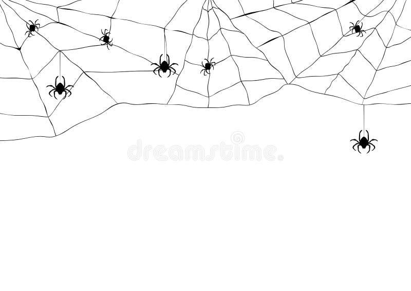 Svart spindel och sönderriven rengöringsduk Läskig spiderweb av det halloween symbolet Isolerat på vit royaltyfri illustrationer