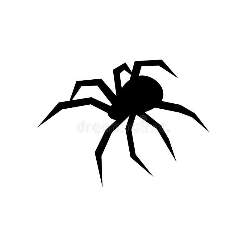 Svart spindelvektorkontur svart änka Plan vektorillustration royaltyfri illustrationer