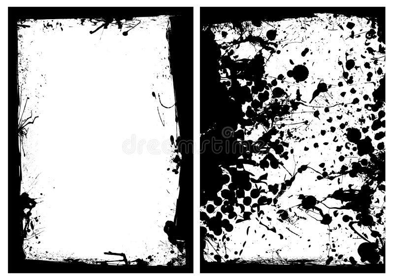 svart splat för kantgrungefärgpulver stock illustrationer