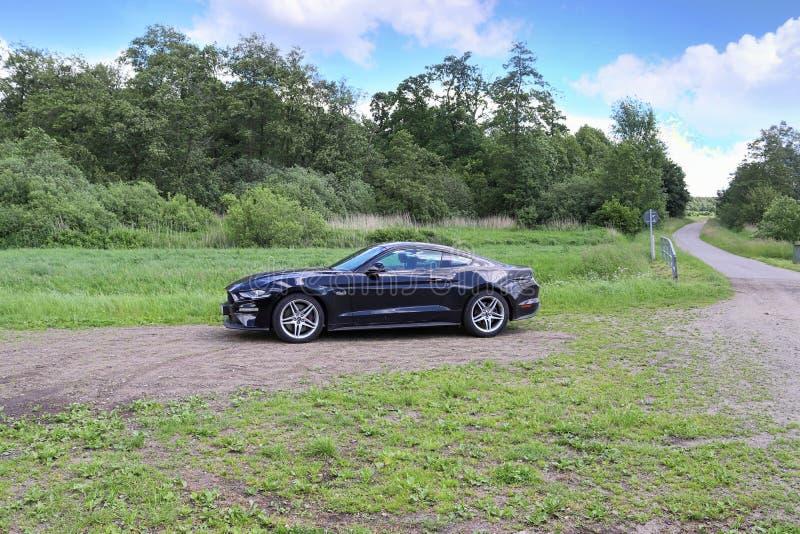 Svart sportbil som är främst av nordligt tyskt landskap på en solig sommardag arkivfoto