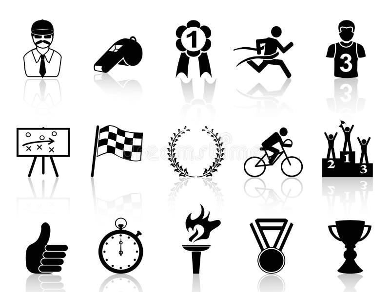 Svart sportsymbolsuppsättning stock illustrationer