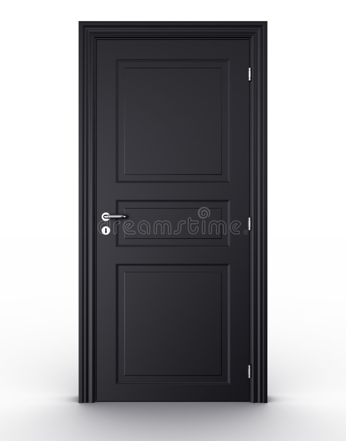 svart stängd dörr stock illustrationer