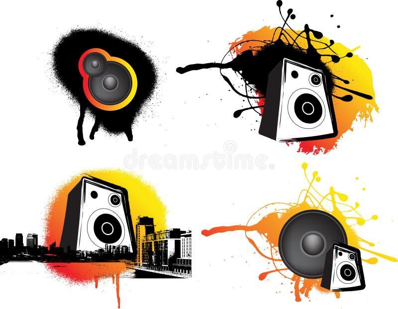 svart stads- musikornage vektor illustrationer