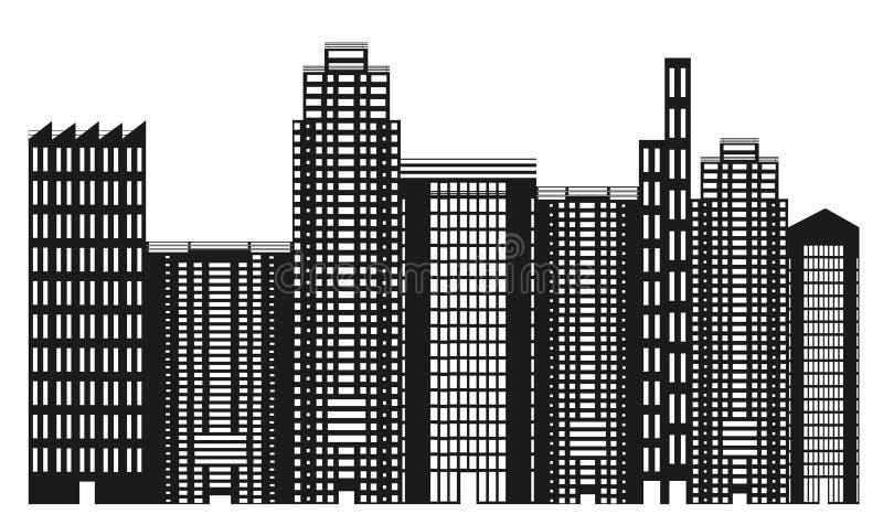 svart stadshorisontwhite stock illustrationer