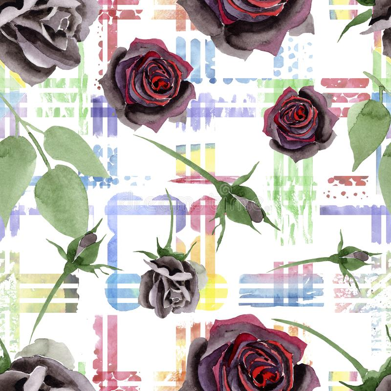 Svart steg blom- botaniska blommor Upps?ttning f?r vattenf?rgbakgrundsillustration Seamless bakgrund m?nstrar vektor illustrationer