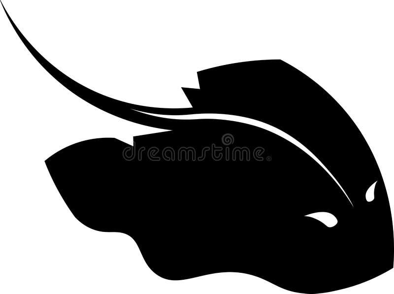 Svart stelfrusen-fisk isolerad designaffärslogo stock illustrationer